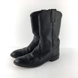 Justin Black Leather Roper Cowboy Boots Size 7B